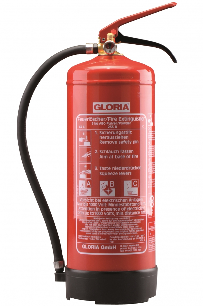Gloria - PD 6 GA m. M - Pulver-Dauerdruckfeuerlöscher mit Manometer und Wandhalter - DIN EN 3, GS, MED, BSI